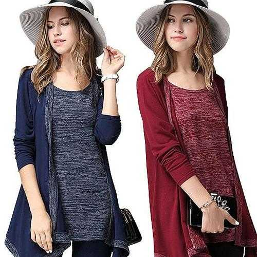 What A Pair Top And Cardi Melange Combo In Plus Sizes Too