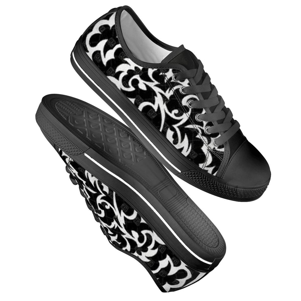 black and white Black Low Top Canvas Shoes