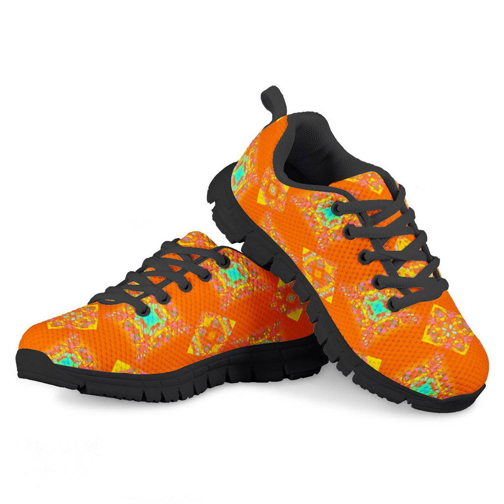 orange Kids Black Running Shoes