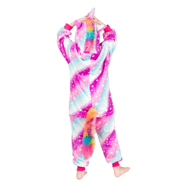 Kigurumi Children's Sleepwear for Boys Girls Unicorn Pajamas Flannel Kids Stich Unicornio Pijamas Set Animal  Winter Onesies