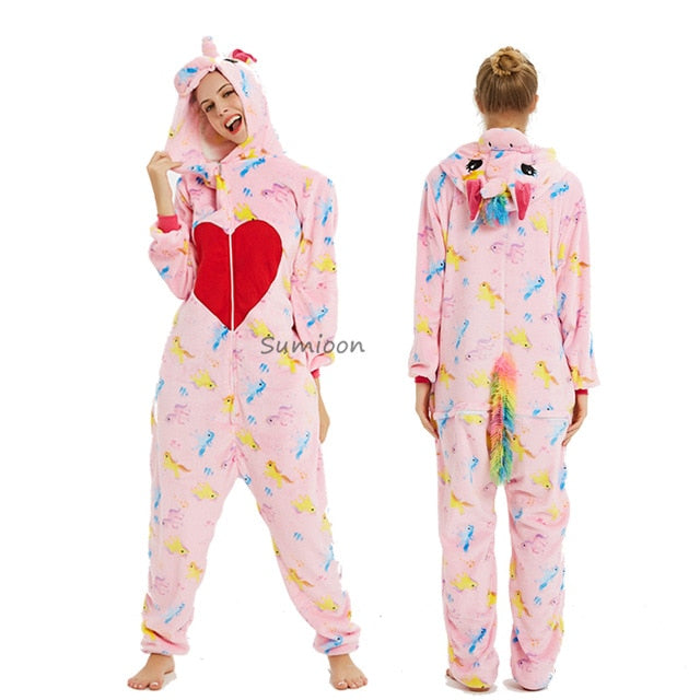 New Unicorn Pajamas onesie Women Kugurumi panda Winter Flannel Pajama Kigurumi Adult Nightie Stitch unicornio Sleepwear Overalls