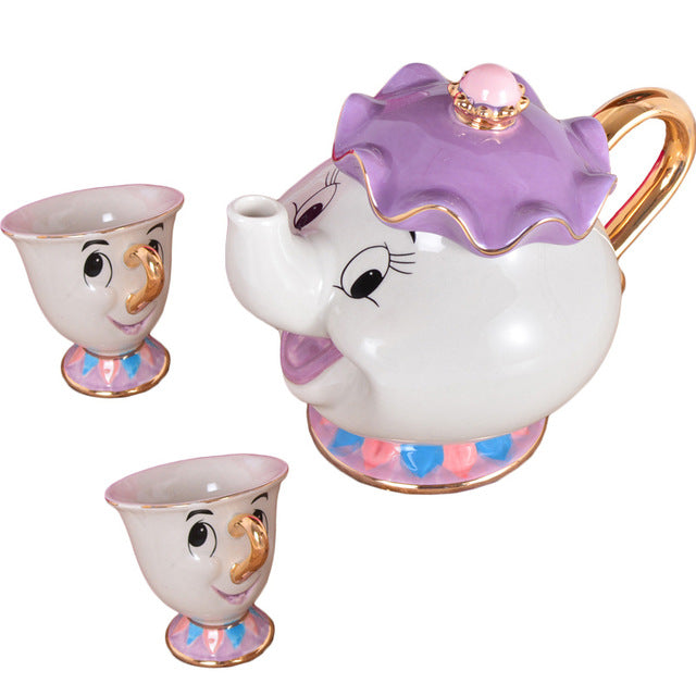 Hot New Cartoon Beauty And The Beast Teapot Mug Mrs Potts Chip Tea Pot Cup 2PCS One Set Lovely Nice Gift Free Shipping