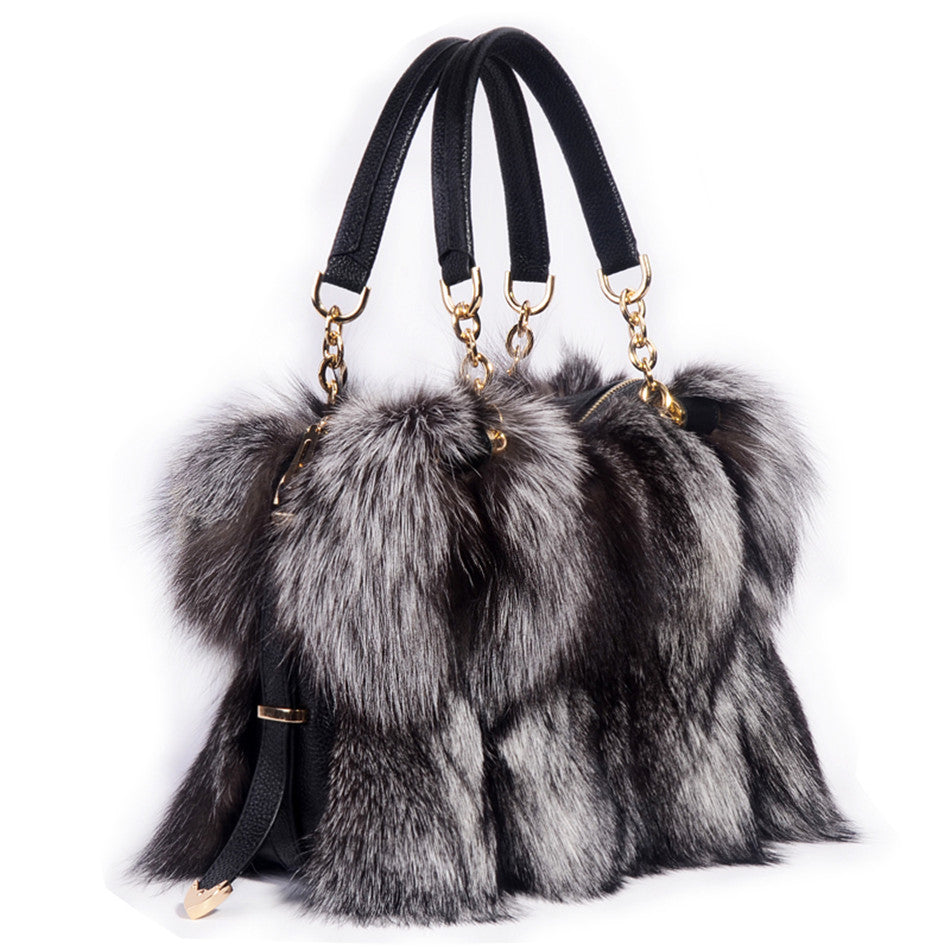 Genuine fox fur handbags silver fox fur bag pathwork real fur handbag Large lady fur purse