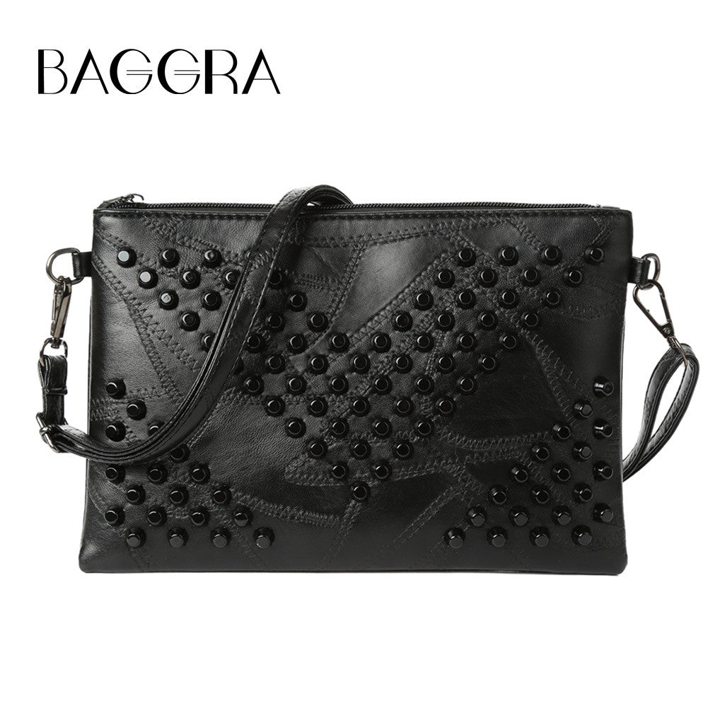 Women Rivet Clutch Bag PU Leather Zipper Removable Strap Casual Purse Crossbody Shoulder Bag Black