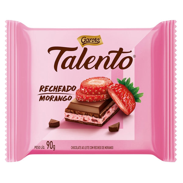 Chocolate Talento recheado com creme de morango/milk chocolate filled with strawberry cream