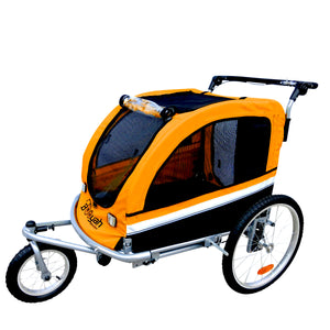 Large Pet Stroller and Trailer with Suspension - Orange