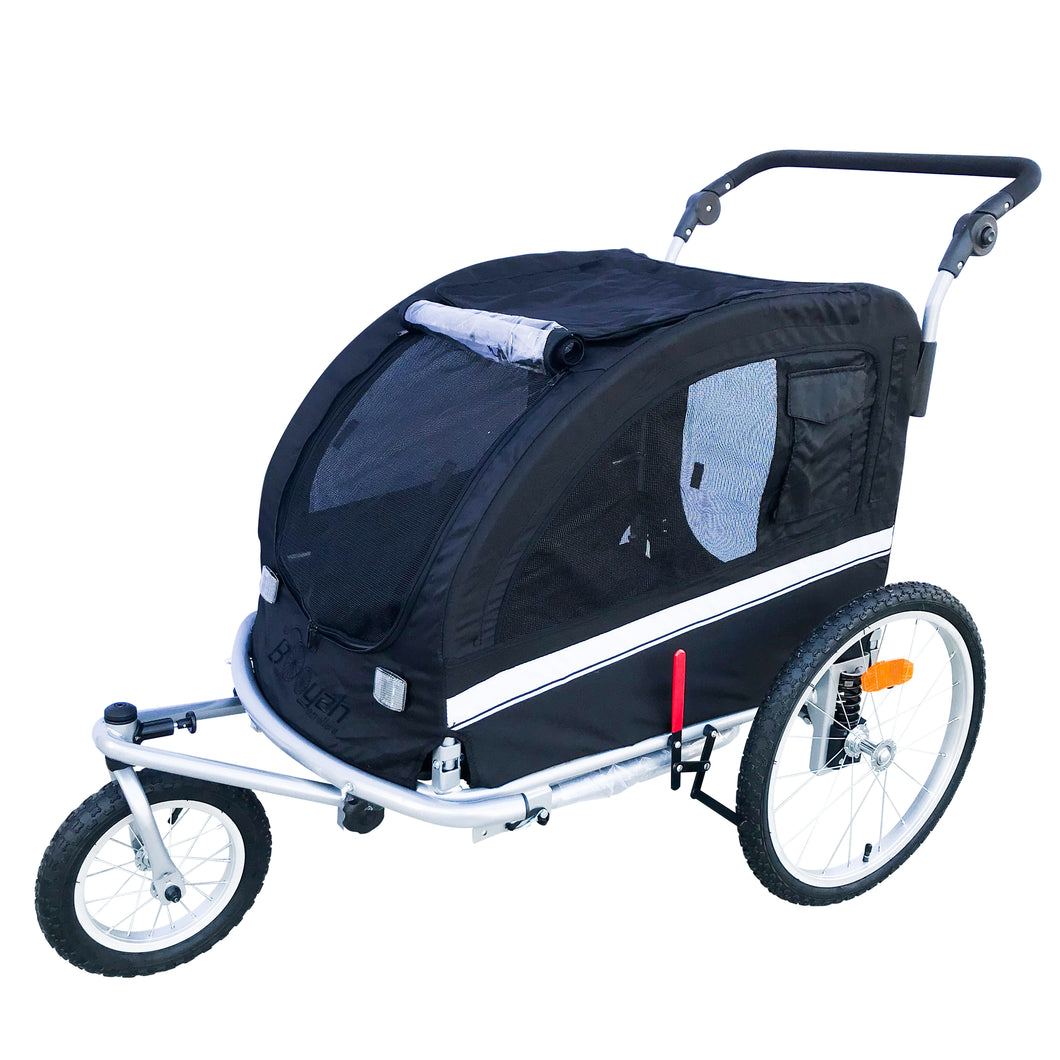 MB Large Pet Stroller and Trailer with Suspension - Black