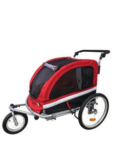 MB Large Pet Stroller and Trailer with Suspension - RED