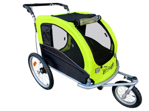 Large Pet Stroller and Trailer with Suspension/Shocks - Flourescent Green