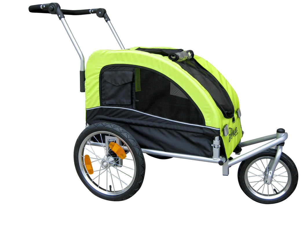 Booyah Medium Dog Stroller and Trailer Combo with Suspension - Florescent Green