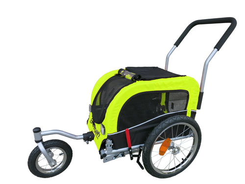 Booyah Small Pet Stroller and Trailer - Fluorescent Green