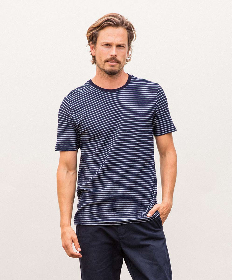 bay stripe tee blue styling