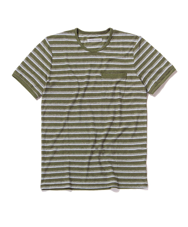 shonan stripe pocket tee olive