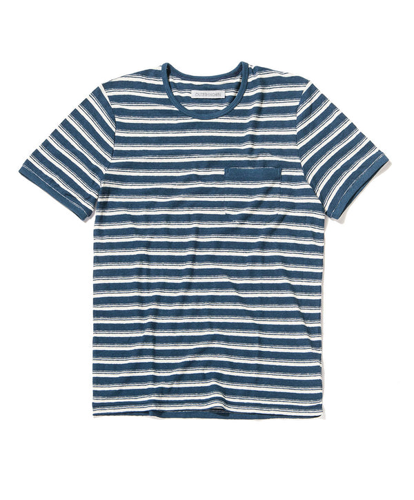 shonan stripe pocket tee blue