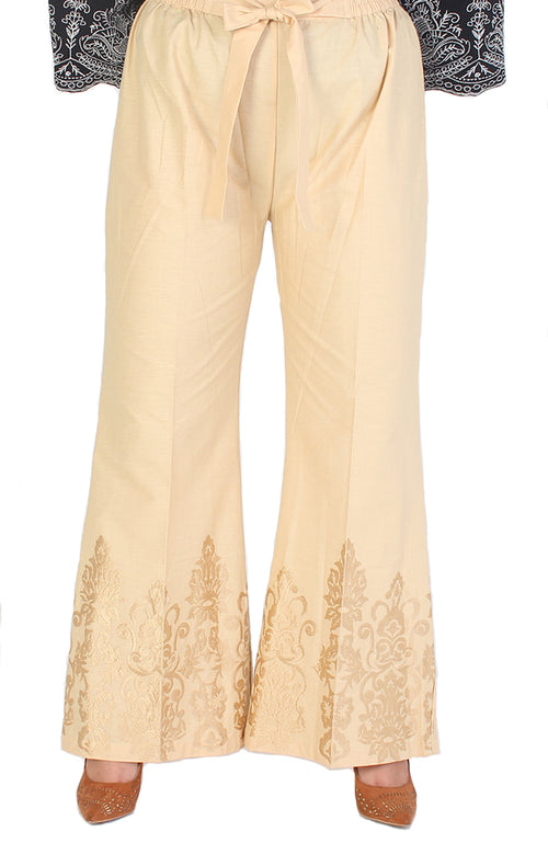Beige Embroidered Trousers