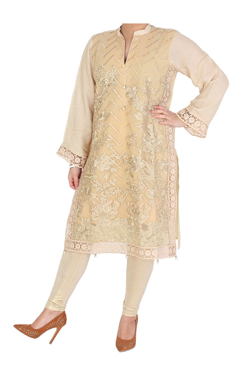 Beige Semi Formal Kurti