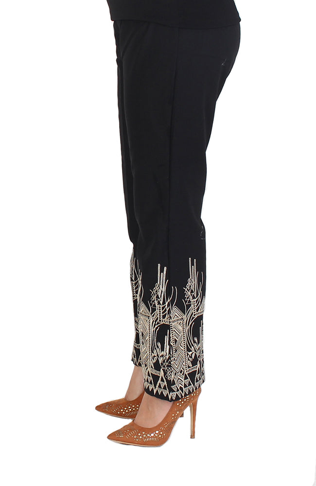 Black Bell-Bottom Trousers with Beige Border