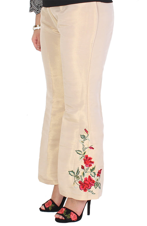 Beige Bell-Bottom Trousers