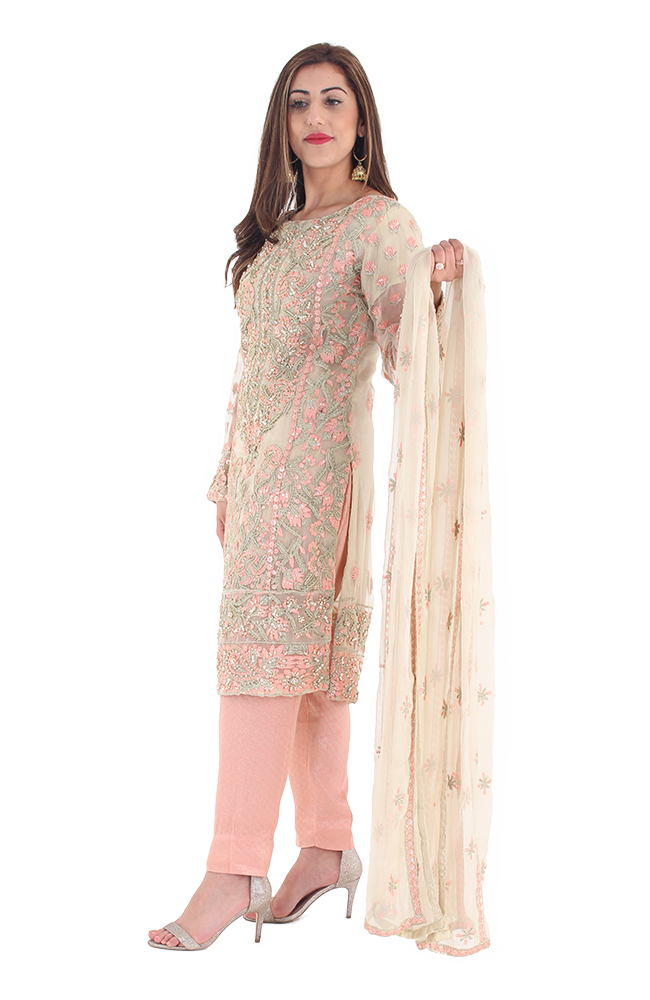 Beige & Tea Pink Formal Dress