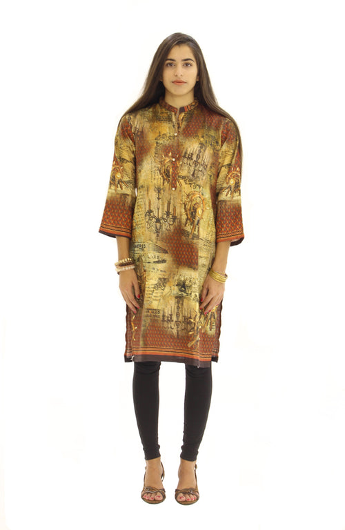 Digital Print Kurti Brown