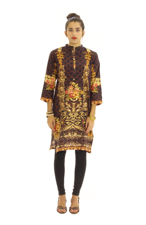 Digital Print Kurti Black