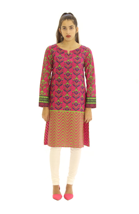 Block Print Kurti Red White