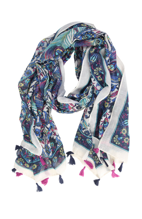 Peacock Feather & Floral Tassel Scarf
