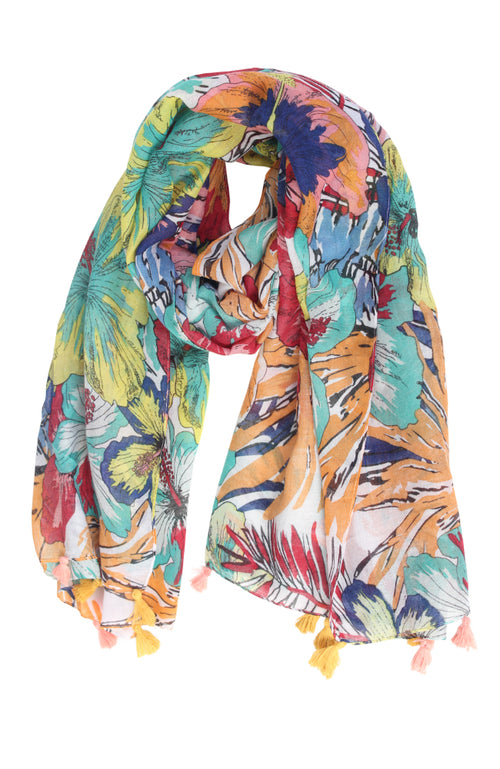 Jungle Orchid Tassel Scarf