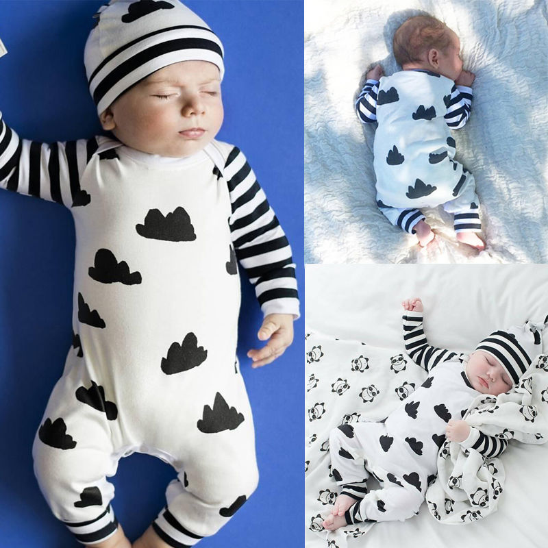Adorable Clouds & Stripes Jumpsuit for Baby Boy