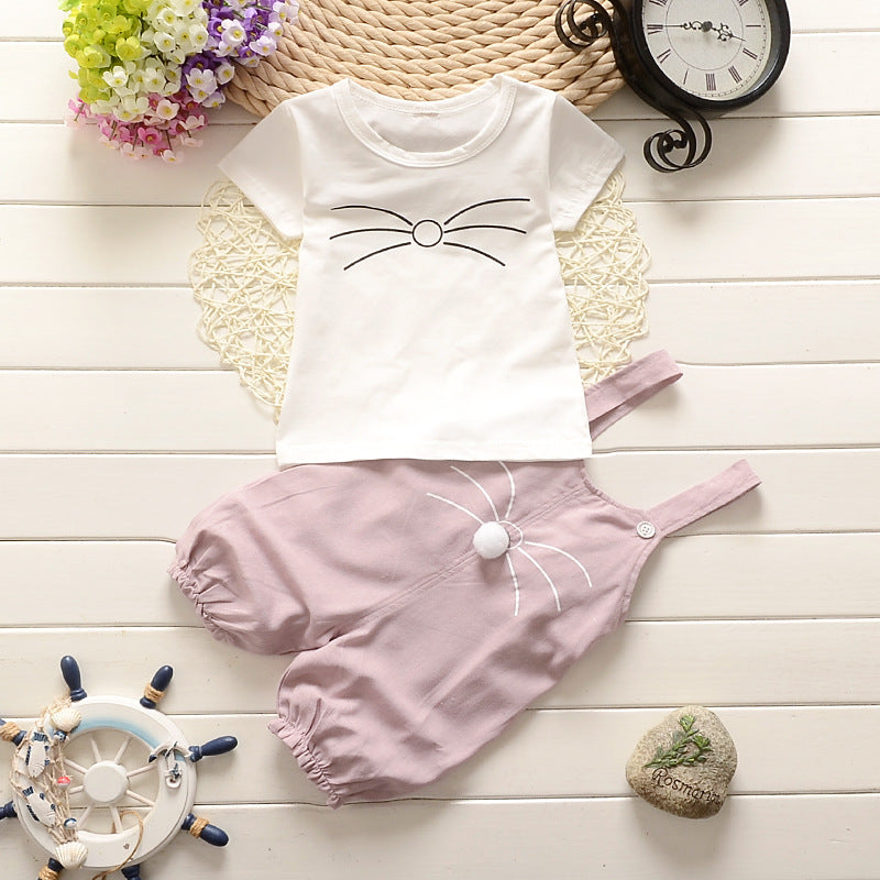 Baby Girl Spring Cotton Short Romper Set