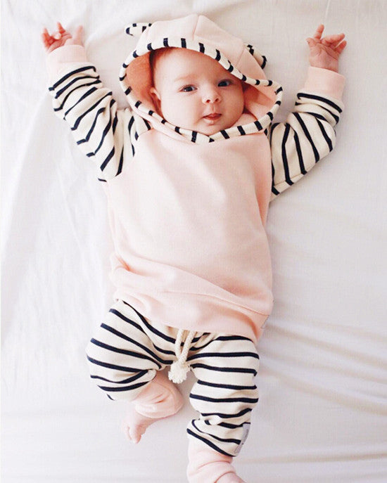 Striped Clothing Set for Baby Girl and Toddler