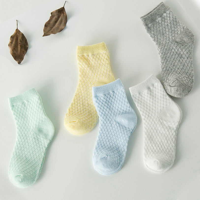 Soft Cotton Mesh Socks for Baby and Toddler (5 pairs)