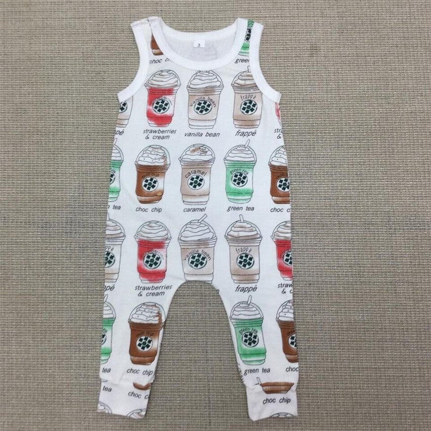 Milkshake & Cream Cup Sleeveless Romper for Baby