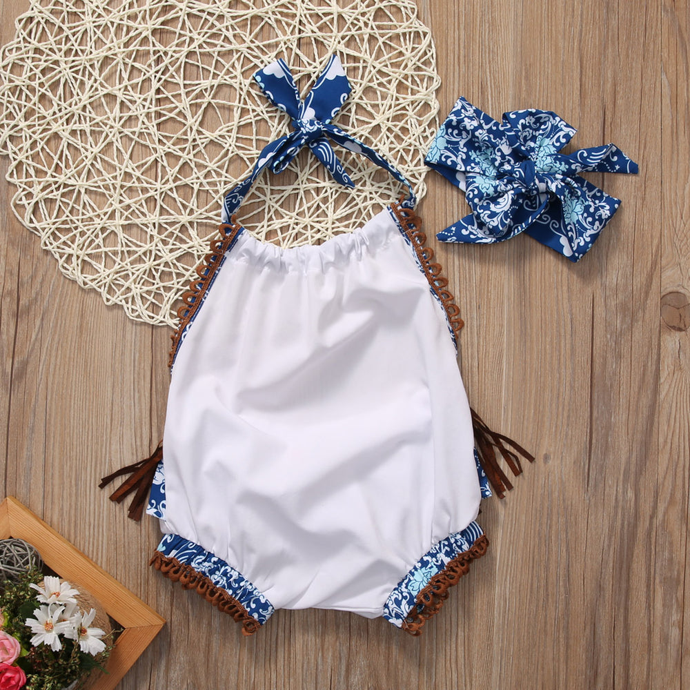 Baby Girl Summer Set Backless Romper+Headband