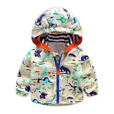Hooded Dinosaur Printed Jacket for Boys