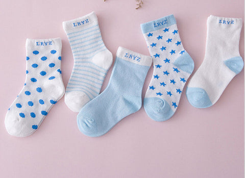 Fancy 5 Pairs Cotton Socks For Baby Girl & Boy