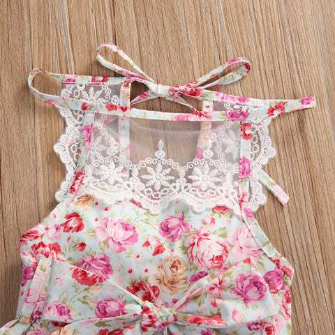 2 Piece Delicate Lace Floral Jumpsuit Romper+Cap Set for Baby Girl