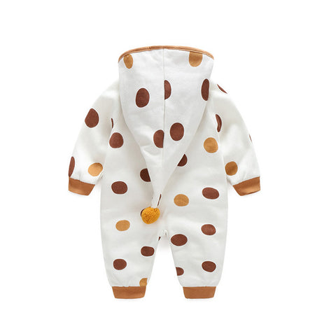 Unisex Warm Hooded Dots Jumpsuit or Baby