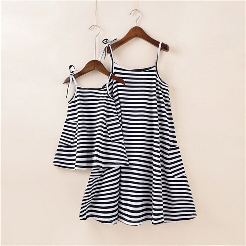 Mother & Daughter Matching Dress with Stripes