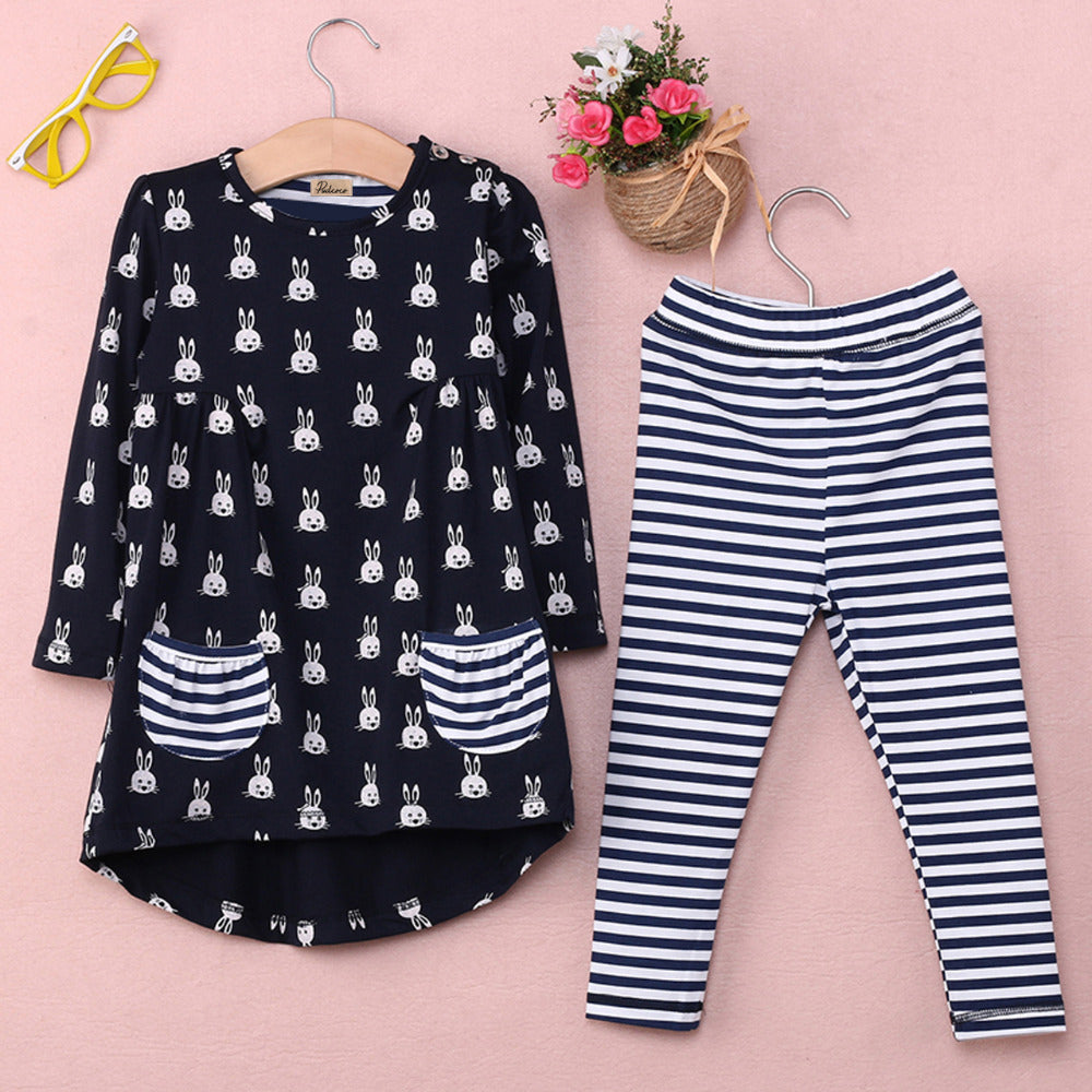 Fashion Rabbit Print & Stripes Set for Girl