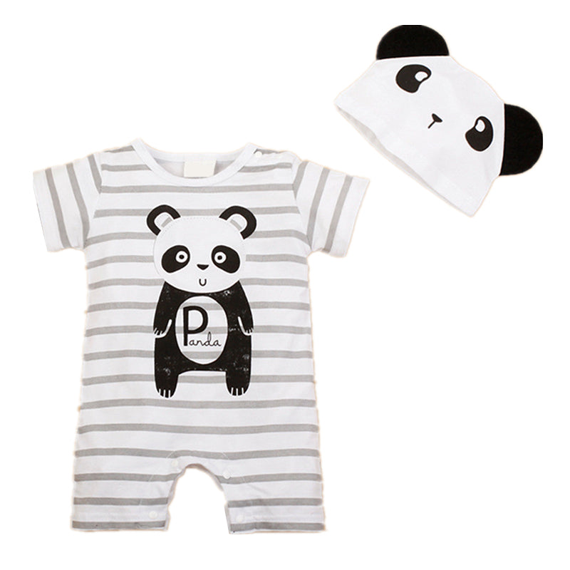 2 Piece Unisex Animal Puppy Summer Romper Set for Baby