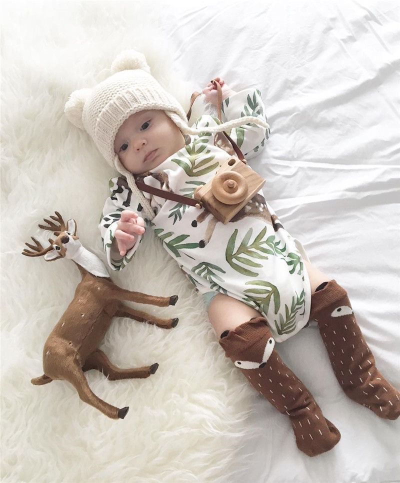 Cute Baby Long Sleeve Cotton Bodysuit