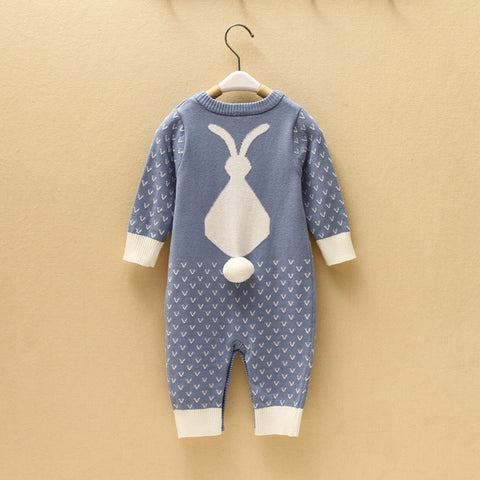 Knitted Baby Jumpsuit with Rabbit