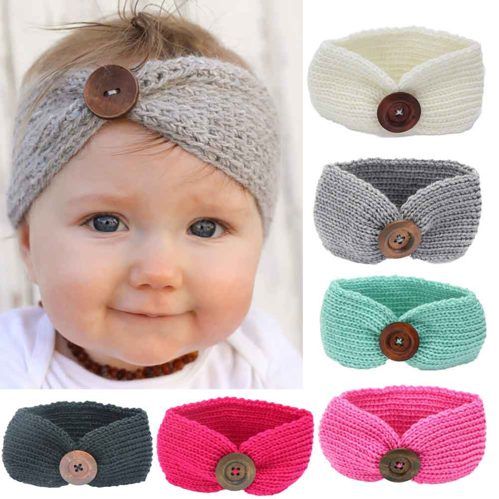 Warm Button Knitted Headband for Baby Girl