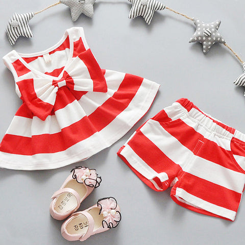 Striped Set Dress + Short Pant for Girls