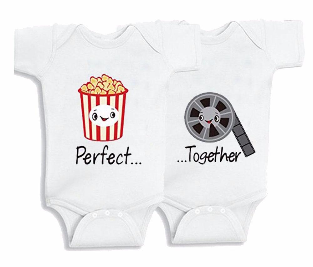 Cute Twins Baby Matching Bodysuits - Perfect Together