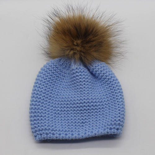 Knitted Hat with Fur Pompom for Baby