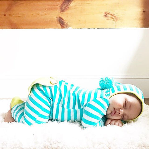 Unisex Striped Hooded Jumpsuit for Baby