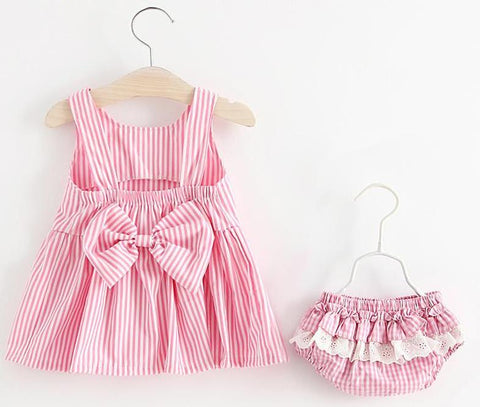 2 Piece Set Summer striped Dress with Bow for Baby Girl