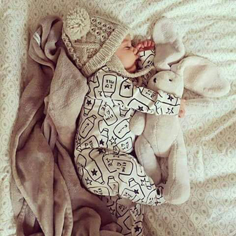 Cotton Jumpsuit  with Milk Prints for Baby Boy